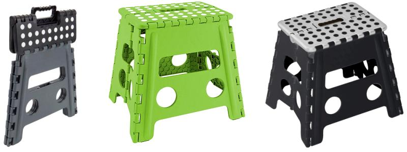 Black and green foldable step stool