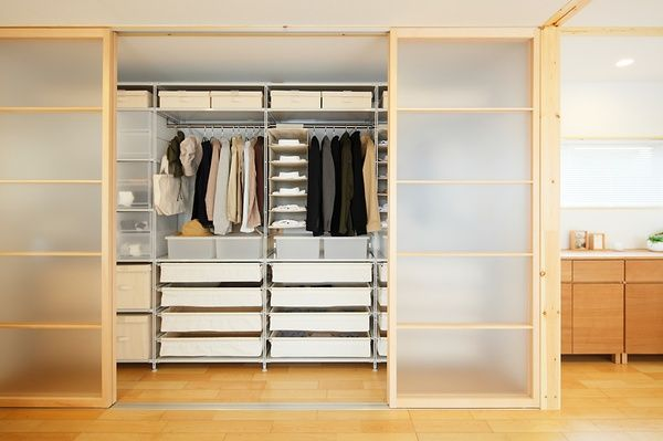 Muji wardrobe system with sliding door