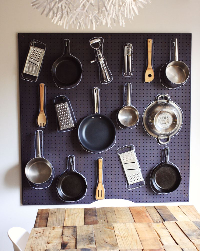 Kitchen items on a pegboard