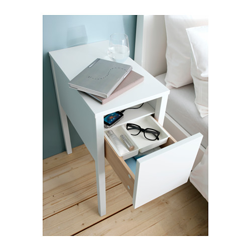 space saving bedside tables spaced out. Black Bedroom Furniture Sets. Home Design Ideas
