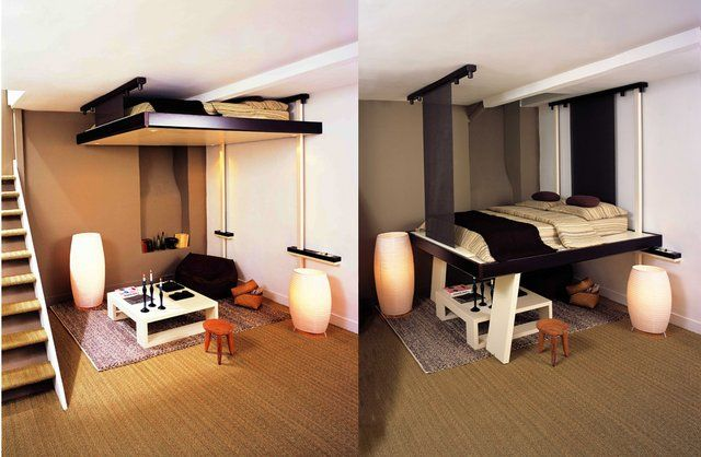 Save Space With Retractable Ceiling Beds