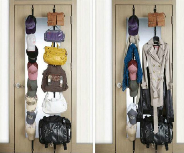 Hats, clothes and bags on a vertical strap over door storage system