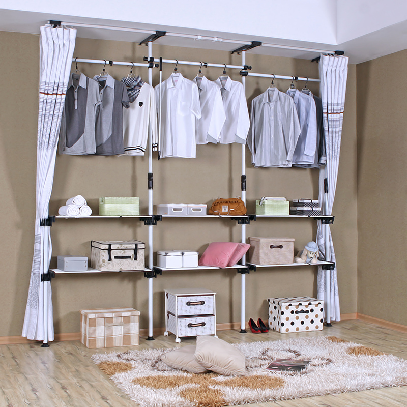 Tension rod open wardrobe system