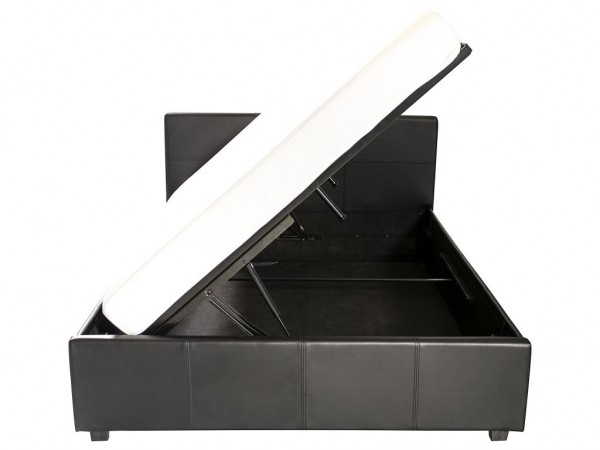 Black hydraulic bed that opens from the side