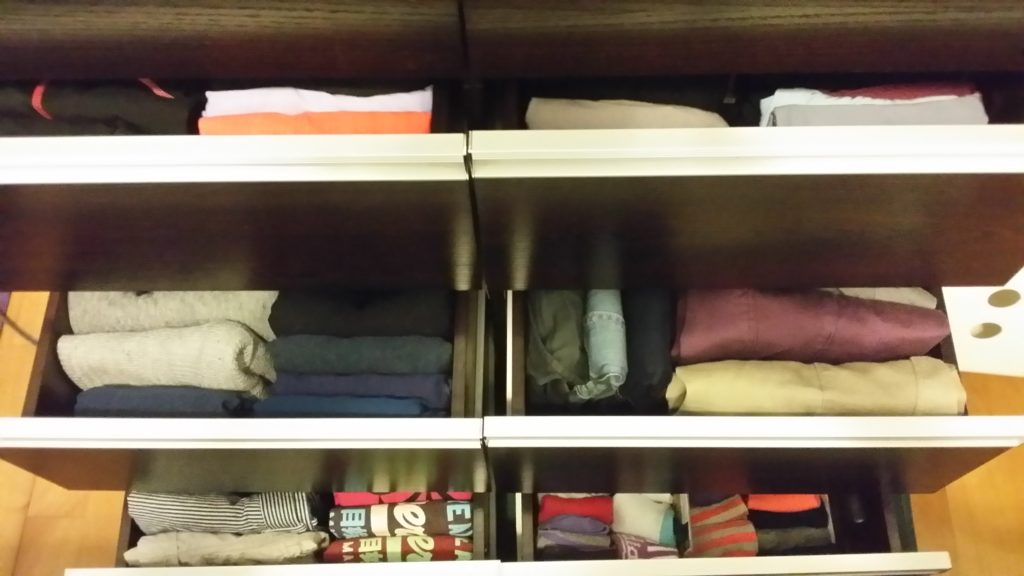 Clothes folded using the KonMari method