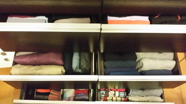 Clothes drawer folded the KonMari way