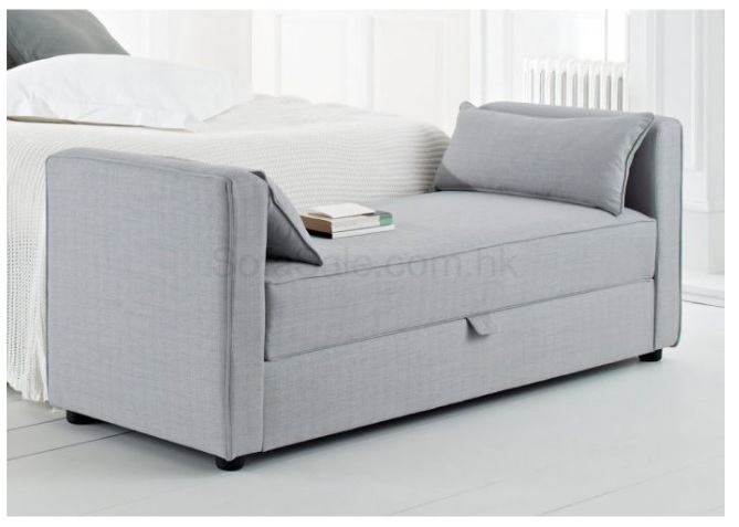 Gray bed end ottoman with storage